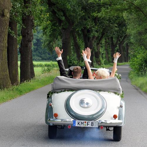 Braut, Bräutigam fahren im Oldtimer IFA F8 Cabriolet auf Allee durch Nordsachsen