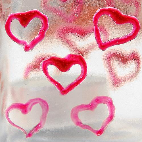 Herzen auf Milchglas